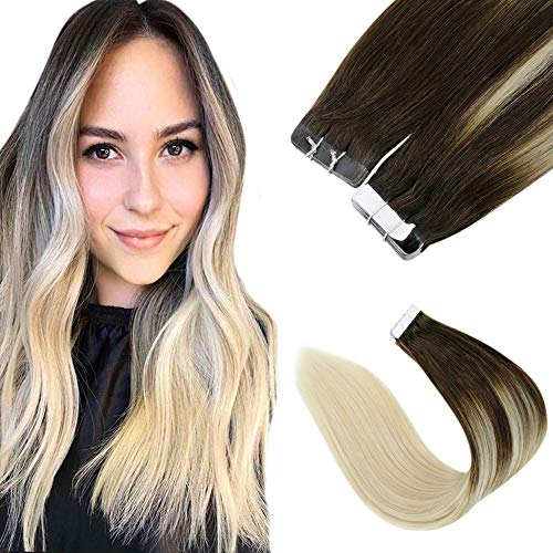 LaaVoo 18pollice/45cm Estensione Capelli Naturale Adesivo Skin Weft Marrone Scuro Balayage Bionda Platino 100GR/40PC Tape in Hair Extensions Smooth Straight