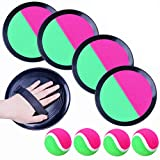 Paddle Toss and Catch Ball Set, Toss and Catch Sports Game Set 4 Paddles, 4 Balls and 2 Storage Bag Perfect Outdoor Toy Gift for Kids, Upgraded Version 8 Inch Paddle Catch Games Toy for Kids/Adults
