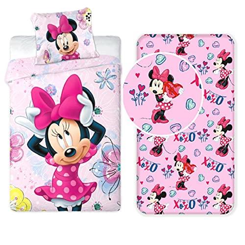 Minnie Mouse 187 Set Letto Singolo Copripiumino + Federa + Lenzuola con Angoli Cotone Biancheria da Letto Bambini
