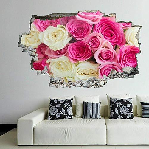YF 3D Wall Decals Pink White Roses Flower Decorative Wall Art Stickers Mural D Wall Sticker