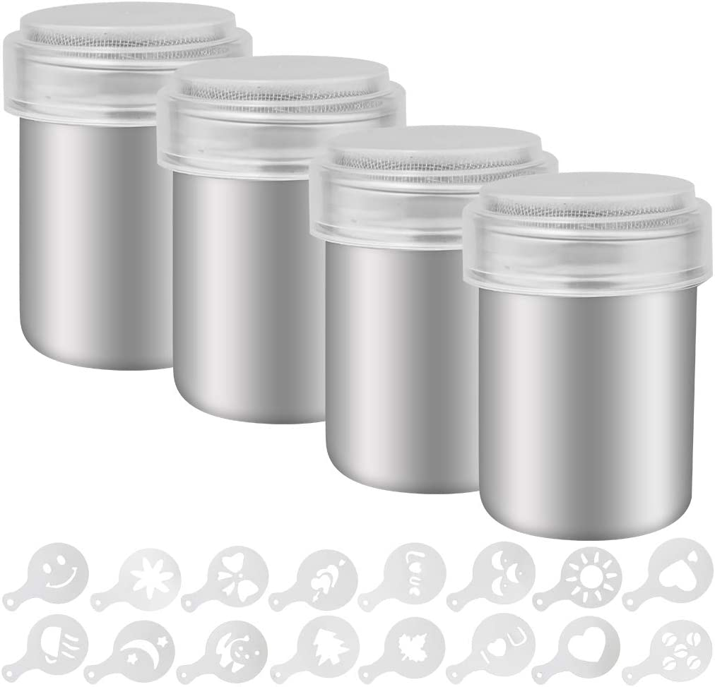 Marrywindix 4 Pack Stainless Steel Powder Sugar Shaker, Coffee Cocoa Dredges with Fine Mesh Lid for Baking Cooking Home Restaurant with 16 Styles Coffee Art Stencils