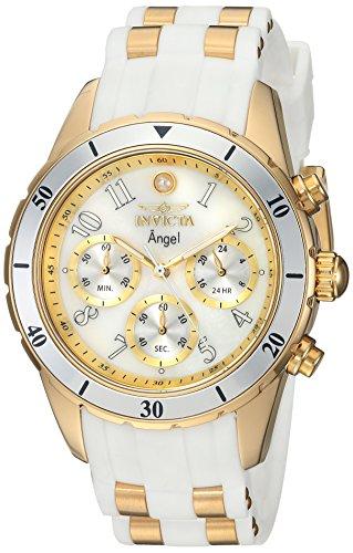 Invicta 24901 Angel - Reloj de cuarzo con cronógrafo de acero inoxidable y silicona, 1.575in, color blanco/dorado