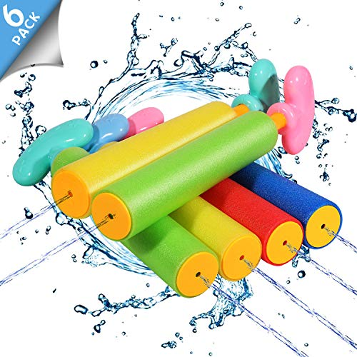 Biulotter 6 Pack Foam Water Blaster Set Pool Toys Water Guns for Kids Water Gun Blaster Shooter...