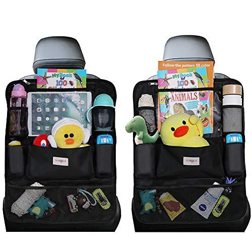SURDOCA Autositz-Organizer 4th Generation verbesserter Auto-Organizer Rücksitz für bis zu 10,5 iPad, 9 Taschen, Kinderspielzeug-Aufbewahrung, wasserdichter Rücksitzschutz für Kinder,schwarz,2 Stück