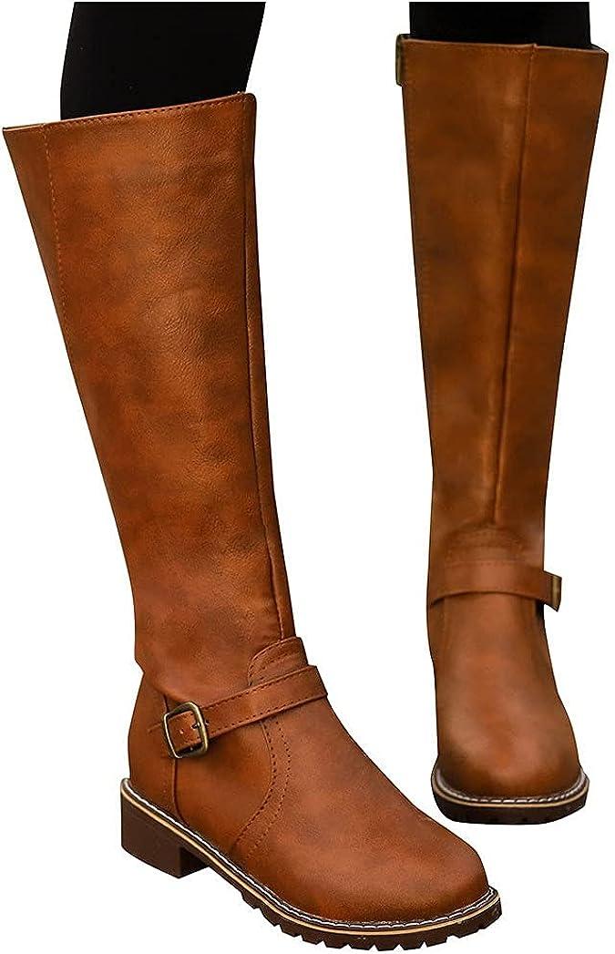 Aniywn Women's Knee High Riding Boots,Flat Heel Side Zipper Buckle Riding Boots Winter Boots Wide Calf for Women Ladies