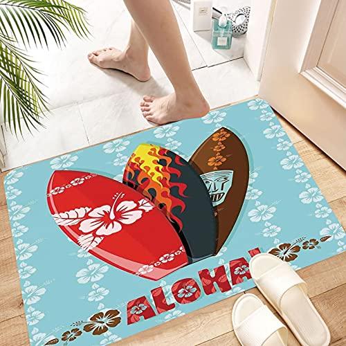 Alfombra de Baño Alfombra de Ducha Antideslizante,Surf, Ilustración de modernas tablas de surf Aloha con Hib, Suave y acogedora, Agua súper Absorbente, Antideslizante, para Dormitorio de baño 50x80 cm