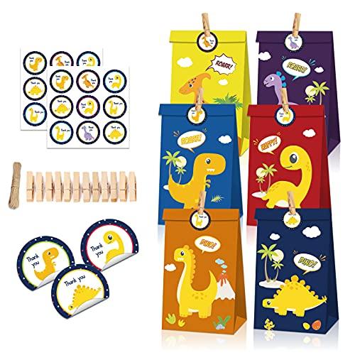 Sacchetti Regalo Compleanno Dinosauri,Zuzer 24 Pezzi Dinosauro Caramella Sacchetto Borsa da Festa Sacchetti Regalo di Carta con 36 Adesivi di Dinosauro 24 Clip 2 Corde per Bambini Feste di Compleanno
