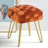 Modern Velvet Square Ottoman,Classical Woven Upholstered Ottoman with Gold Metal Legs Vanity Stool Makeup Chairs for Living Room,Pumpkin Brown