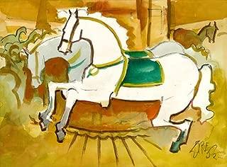 California Watercolor Fine Art Print, Carousel Horses, 2000 Milford Zornes, 19 x 25.75 inches