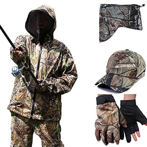 Men\'s Camouflage Fishing Set, Sonnenschutzbekleidung Outdoor Moskito Anzug Jacke Hose Handschuhe Set Beobachtung von Tieren
