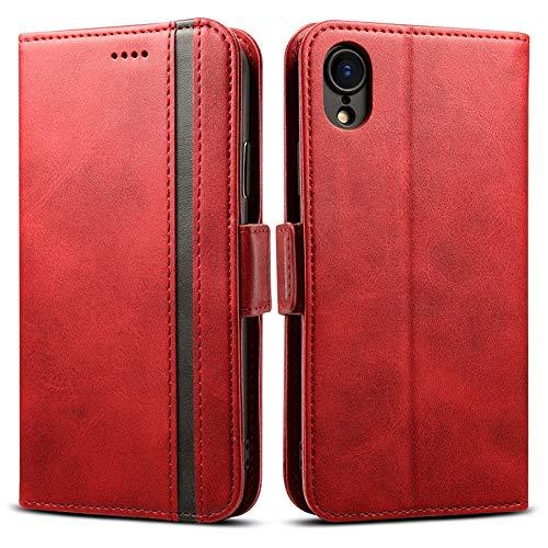 Rssviss iPhone XR Hülle, iPhone XR Handyhülle mit Magnetverschluss iPhone XR Lederhülle [3 Kartenfächer ] für iPhone XR Case,6.1 Zoll,Schwarzer Streifen rot