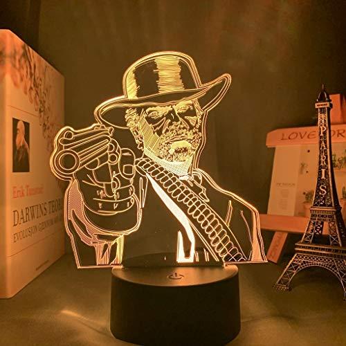 Spiel Red Dead Redemption 2 Geschenk Acryl 3D-Lampe für Spielzimmer Dekor Nachtlicht RDR2 Arthur Morgan Figur Kinder Led Nachtlicht