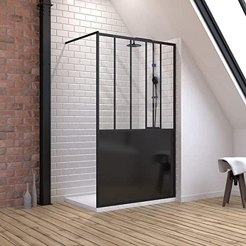 Pack de mampara de ducha de 120 x 200 cm, color negro...