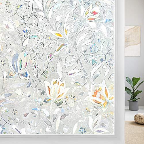 DOWELL 3D Statisch Selbsthaftend Fensterfolie mit Blumen Muster, Blickdicht Sichtschutzfolie Folie für Fenster, Glasfolie für Glastüren, Dekorfolie UV Sonnenschutz Sichtschutz, 44.5 x 200 cm