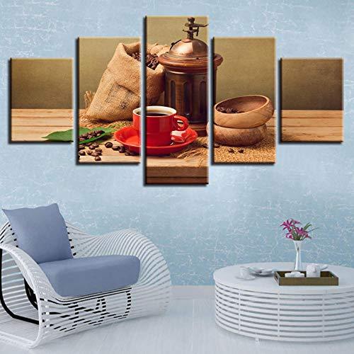 Cyalla Leinwanddrucke Leinwand Malerei Kaffeebohne Leckeres Essen Drucke Wandkunst Rahmen Wohnkultur 5 Stücke Dekorative Bild Für Wohnzimmer Drucke Auf Leinwand 150X80Cm