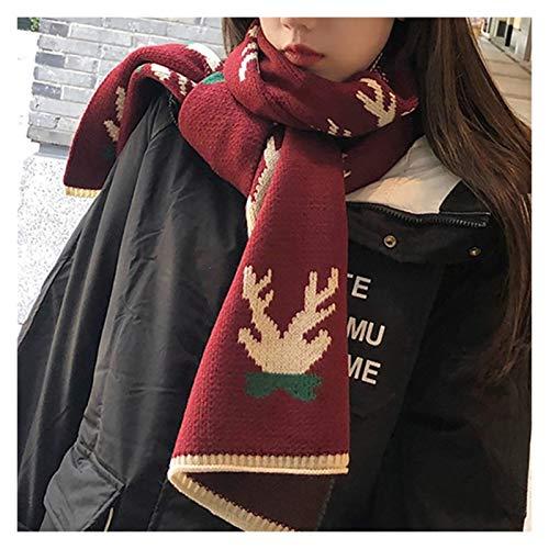 ZHIHUI Poncho Donne Sciarpa Inverno Donna Uomo Caldo Sciarpe Lungo Spesso Classic Christmas Sciarpa Renna Modello Holiday Gifts Moda Unisex Ultra Leggera (Color : Red)