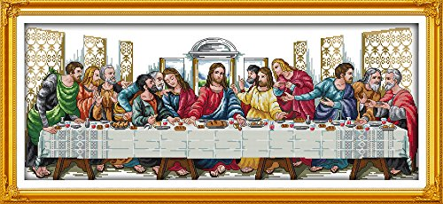 Joy Sunday Jesus Cross Stitch Kits 14CT Counted Full Range of Embroidery Starter Kit for Beginners Unprinted Pattern-The Last Supper