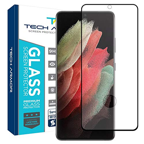 Tech Armor Ballistic Glass 3D Curved Screen Protector Designed for Samsung Galaxy S21 Ultra, CASE Friendly, HD Clear, Black - [1-Pack]