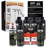 U-Pol Raptor 6 Quart Kit - Black Urethane Spray-On Truck Bed Liner Kit with Custom Coat Spray Gun with Regulator, Bonus Can of Aerosol Bedliner