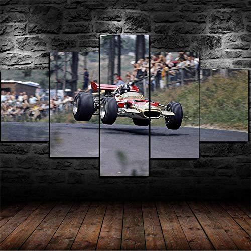 5 Stück Drucke Auf Leinwand Gedruckt Malerei Wohnzimmer Wand Kunst Leinwand F1 Formel 1 Graham Poster Bild XXL Wohnzimmer Wohnkultur Kreatives Geschenk (Gerahmt)