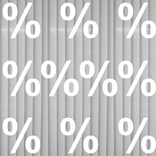 GreenIT 10 Aufkleber 10cm Prozent Zeichen Symbol Tattoo Deko Folie für Schaufenster Fenster Scheibe (weiß)