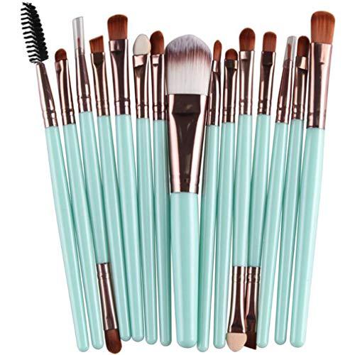 Mvude Pinceaux de Maquillage pour Les Yeux Soft Synthetic Hairs Professional 15 Pieces Eyeshadow Makeup Brush Set,Clarinette à Poteau Vert