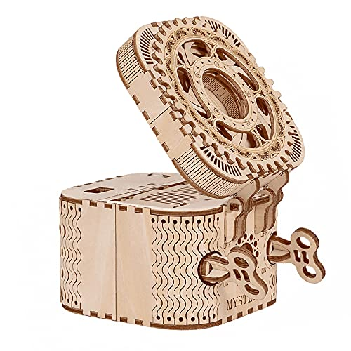Robotime Puzzle 3D Madera Maquetas Treasure Box Modelos Mecánicos Kits para Construir Adultos Montar Construcciones Laser Cut Puzzle de Madera