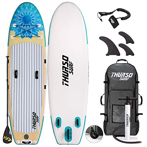 THURSO SURF Tranquility Yoga Inflatable Stand Up Paddle Board SUP 10'8 x 34'' x 6'' Two Layer Deluxe Package Includes Carbon Shaft Paddle/2+1 Quick Lock Fins/Leash/Pump/Roller Backpack