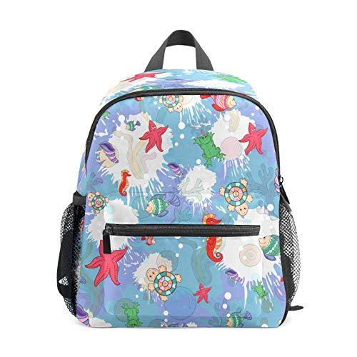 Mochila infantil para niños de 1 a 6 años de edad, mochila perfecta para niños pequeños a guardería, tortuga, estrella de mar, caracola, caballo de mar