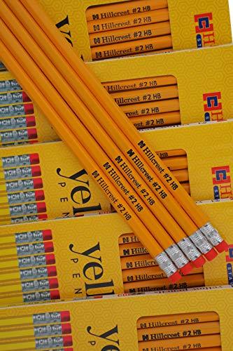 Gele potloden, houten behuizing #2HB Extra donker met gum, 12 Pack - 144 potloden