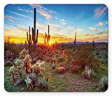 Saguaro Mouse Pad, Sun is Setting Between Saguaros Wildflowers in The Sonoran Desert Scene Picture, Standard Size Rectangle Non-Slip Rubber Mousepad, Multicolor