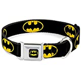 Buckle Down Seatbelt Buckle Dog Collar - Batman Shield Black/Yellow - 1.5' Wide - Fits 13-18' Neck - Small