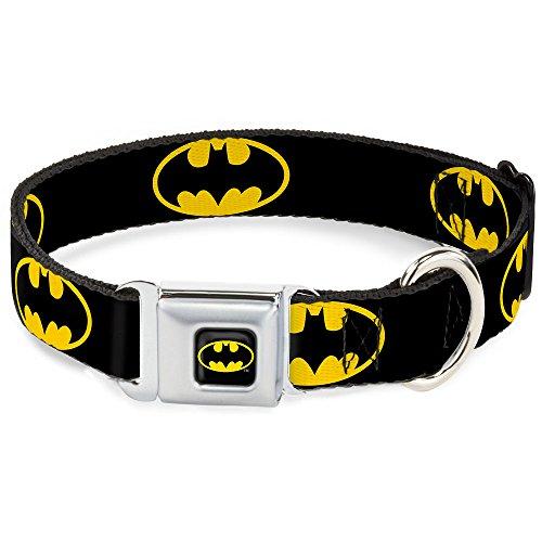 Buckle-Down Coleira para cachorro fivela de cinto de segurança Batman escudo preto amarelo 40 a 58 cm de largura (DC-WBM001-WM)