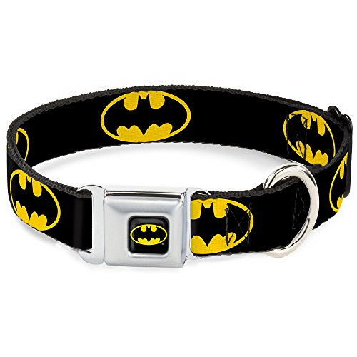 Dog Collar Seatbelt Buckle Batman Shield Black Yellow 15 to 26 Inches 1.0 Inch Wide