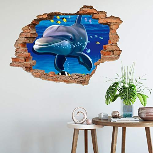 Wandtattoo Wandaufkleber 3D-Fenster-Ansicht Delphin Unterwasserwelt Delfine Marine Meer Wandbild Wohnzimmer Schlafzimmer Kinderzimmer Deko Badzimmer 50 cm x 70 cm (D)