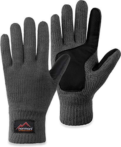 normani Strick Fingerhandschuhe Winterhandschuhe mit 3M™ Thinsulate™ - Silikonhandinnenfläche und Fleeceinnenmaterial für Damen und Herren Farbe Grau Größe XL