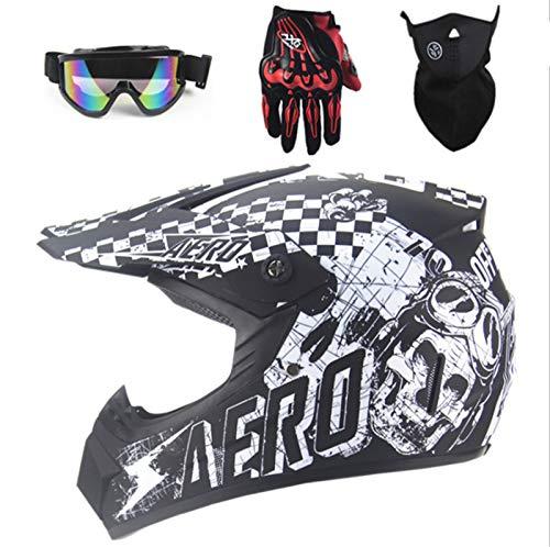Casco de moto de motocross D. O. T Standard para motocross, motos todoterreno, enduro, crossbike, color verde neón, incluye guantes, máscara y correa de cuello, 4 piezas (blanco)