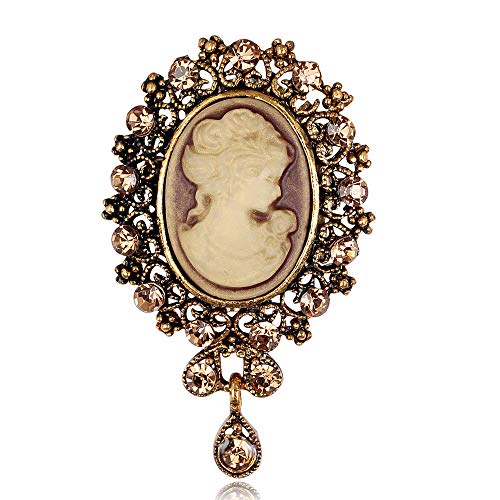 YONGHUI Vintage Brooches for Women Crystal Lady Queen Cameo Brooch Pins Jewelry Birthday (Champagne)