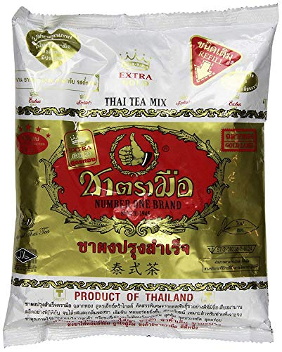 Original Thai Extra Gold Qualität Eistee Mix ~ Nummer Eins Marke aus Thailand! 400g Bag ideal für Restaurants, die authentische und qualitativ hochwertige Extra Gold Thai Eistee servieren möchten