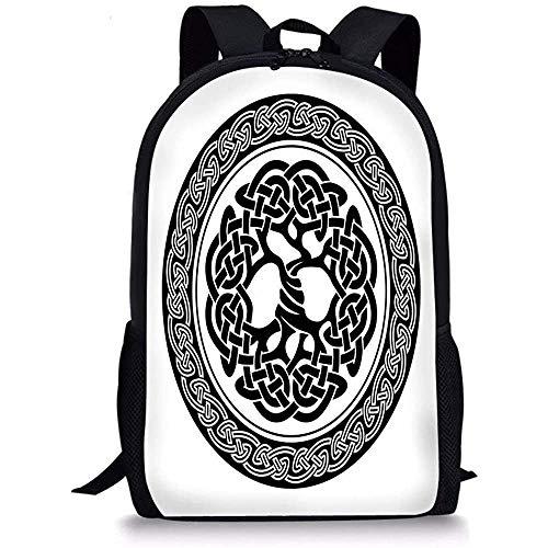 Hui-Shop Mochilas Escolares Decoración Celta, Figura Celta nativa del árbol de la Vida de Irlanda Diseño Moderno artístico renacentista temprano, Blanco Negro