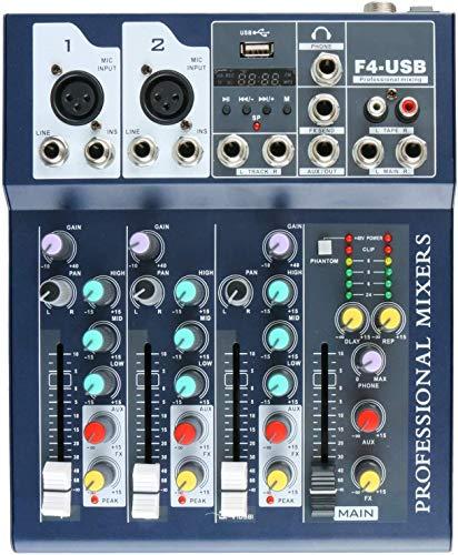 Mesa de mezclas profesional de metal de 4 canales Live Mixer, 3 bandas, función EQ USB, 48 V Phantom con procesador integrado de entrada Mic