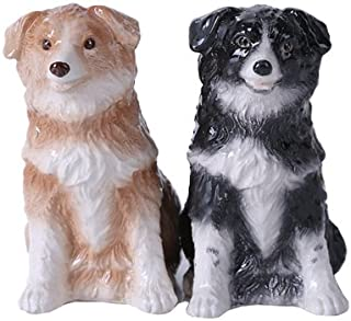 Pacific Giftware 4.75 inches Border Collie Couple Magnetic Salt and Pepper Shaker Kitchen Set