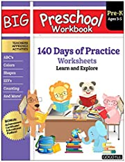 Big Preschool Workbook : Ages 3 - 5, 140+ Days of PreK Learning Materials, Fun Homeschool Curriculum Activities Help Pre K Kids Prep With Letter Tracing, Math Counting, Alphabet, Colors, Size & Shape