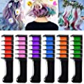 EBANKU Temporary Hair Color Chalk Comb, 6 Color Washable Hair Chalk Set for Girls Kids Gifts on Cosplay DIY Birthday Party Children's Day