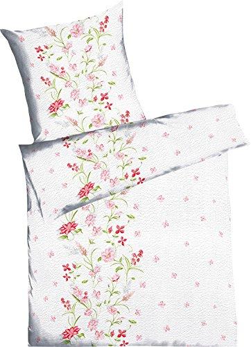 Kaeppel Seersucker Bettwäsche mit Reißverschluss 135x200 80x80 (877 rose)
