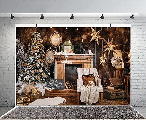 Sfondi Sfondo fotografico Merry Christmas Star candela albero camino vecchia valigia sfondo interno studio foto-150x220cm