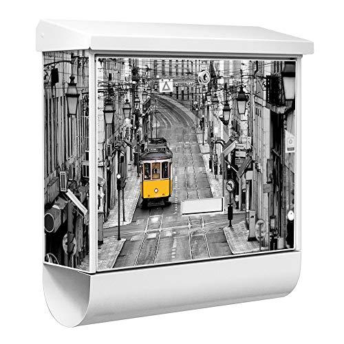 Burg-Wächter Qualitäts-Briefkasten mit Namensschild | Modell Ferrostar 38 x 39 x 12cm | weiß pulverbeschichtet mit Zeitungsfach | Motiv Lissabon | zur Wandmontage