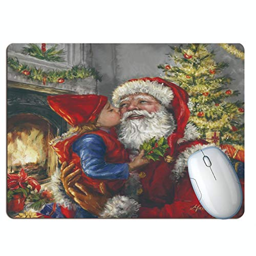 jieGorge Home Decor, Christmas Extended Gaming Mouse Pad Keyboard Laptop Mousepad with Stitched Edges Non Slip Base, for Christmas Day (A)