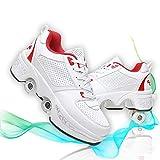 Patines 4 Ruedas Niña Ajustables Al Aire Libre Zapatos Parkour Patines De Ruedas para Mujeres Zapatillas Deportivas De Recreación Rollerskates,White Red,39