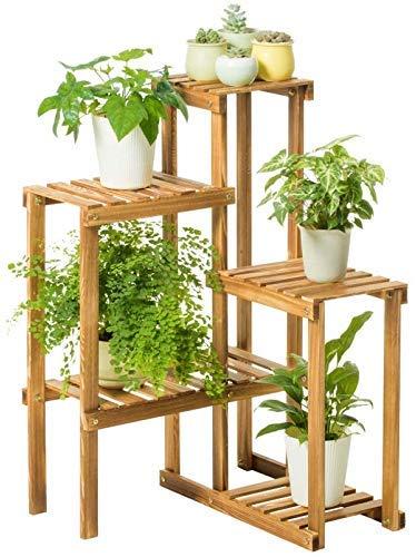 Y-longhair Planta de jardín de madera del soporte del estante de exhibición de flores carnosas balcón marco de multi-nivel de suelo de sala de estar interiores y al aire libre maceta de flores en rack